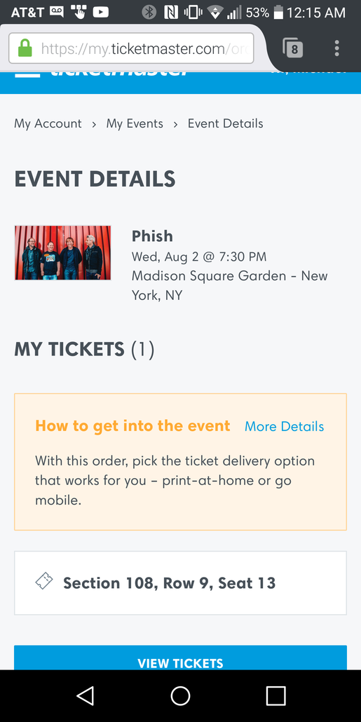Phish Bakers Dozen   8/2   Section 108, Row 9. Ticketmaster E Ticket.